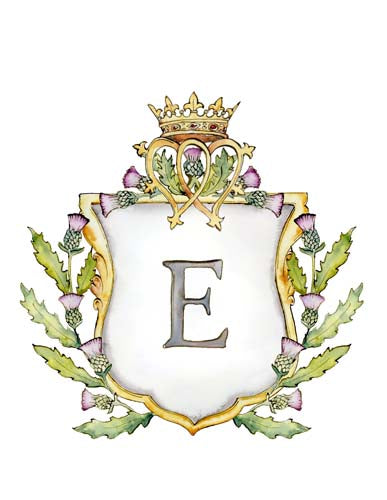 Scottish Thistle Crest | Single Letter Monogram | Instant Download - Jamie Hansen Art