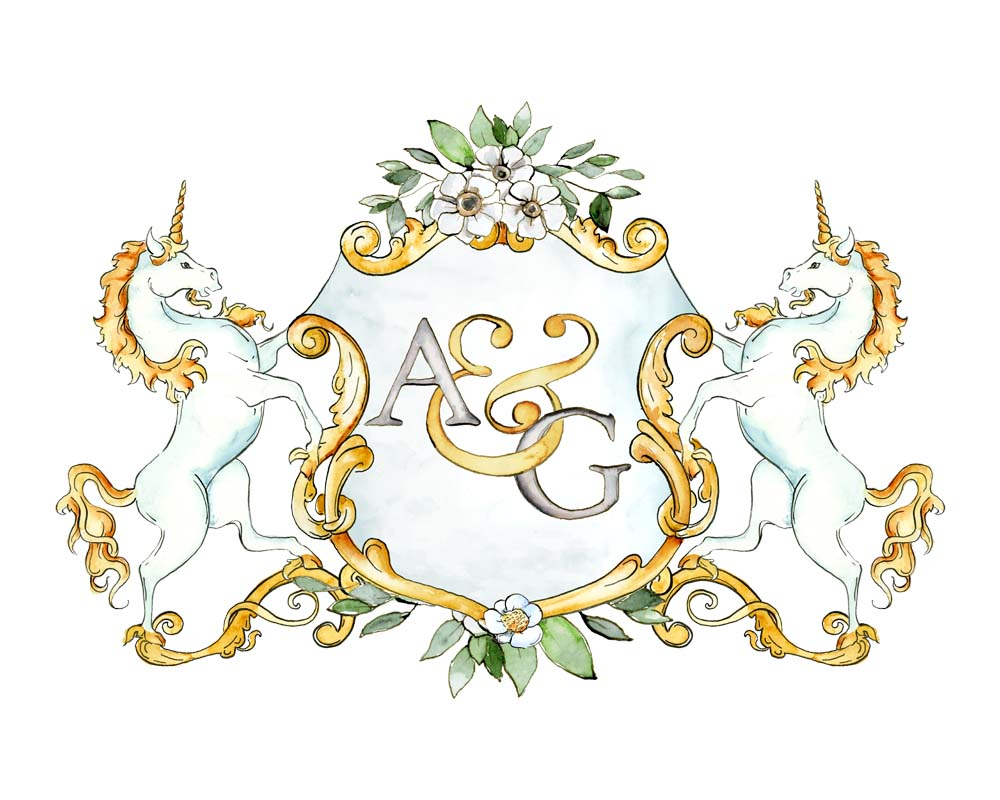Two Letter Monogram Crest with Unicorns | Semi-Custom Crest - Jamie Hansen Art