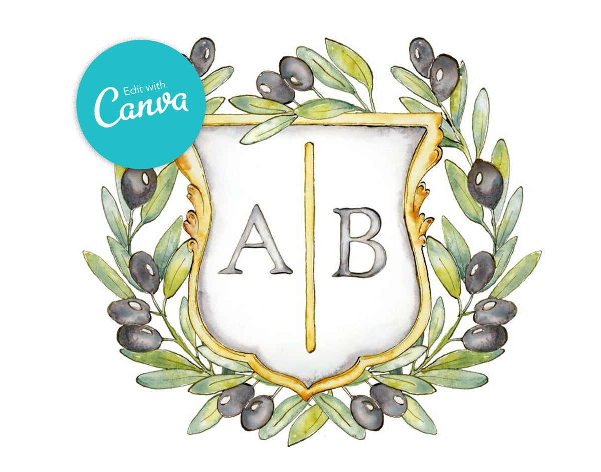 Olive Wreath Monogram Crest | Semi-Custom Crest Canva Template - Jamie Hansen Art
