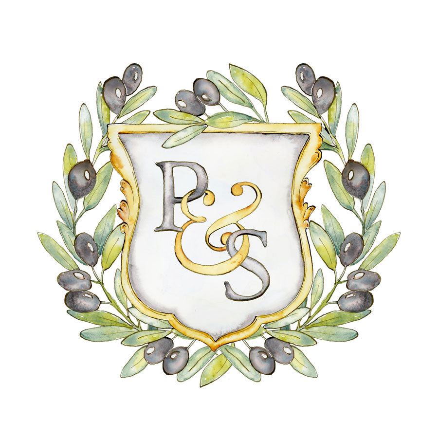 Olive Wreath Monogram Crest | Semi-Custom Crest | Digital Download - Jamie Hansen Art