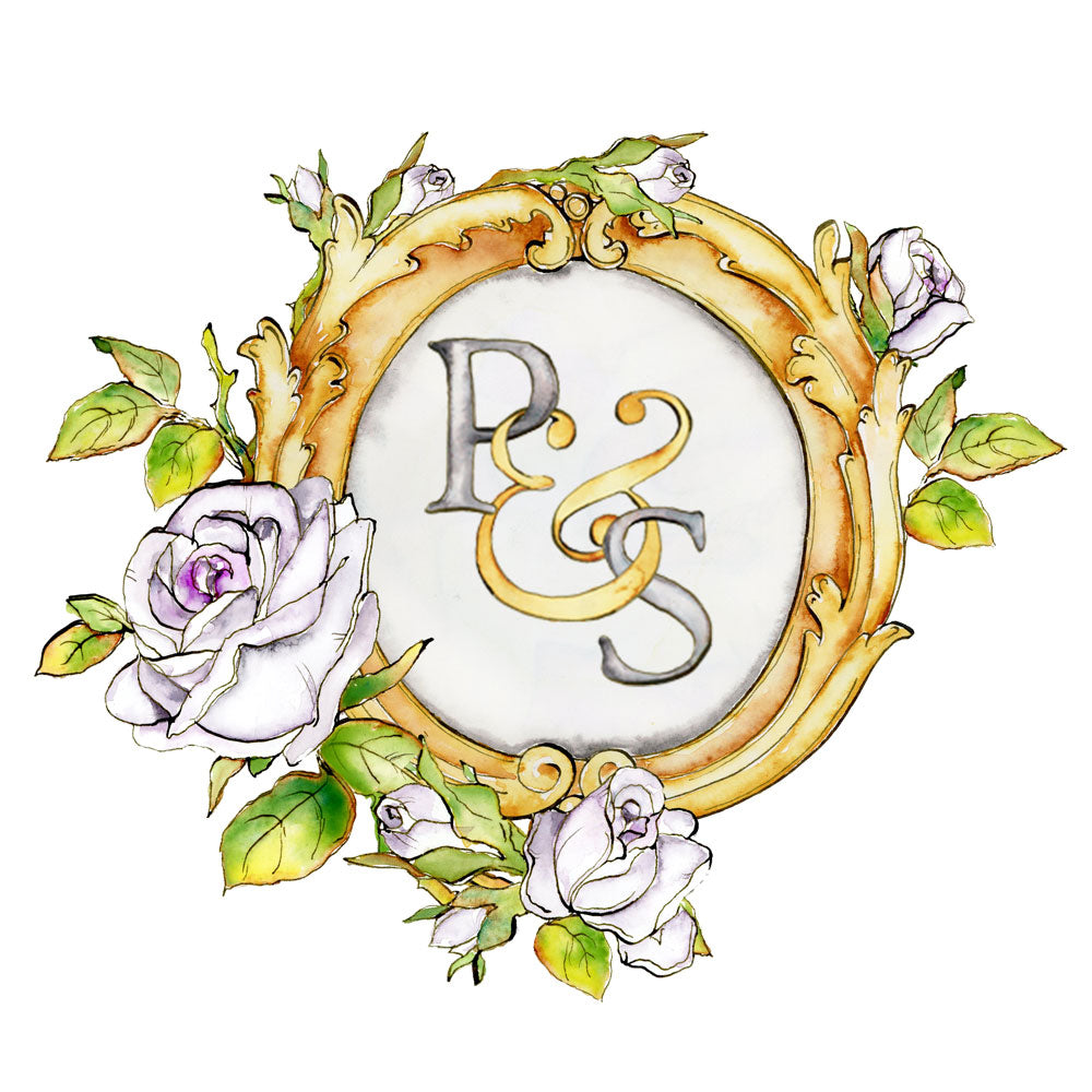 Pink Roses Monogram Crest | Semi-Custom Wedding Logo - Jamie Hansen Art