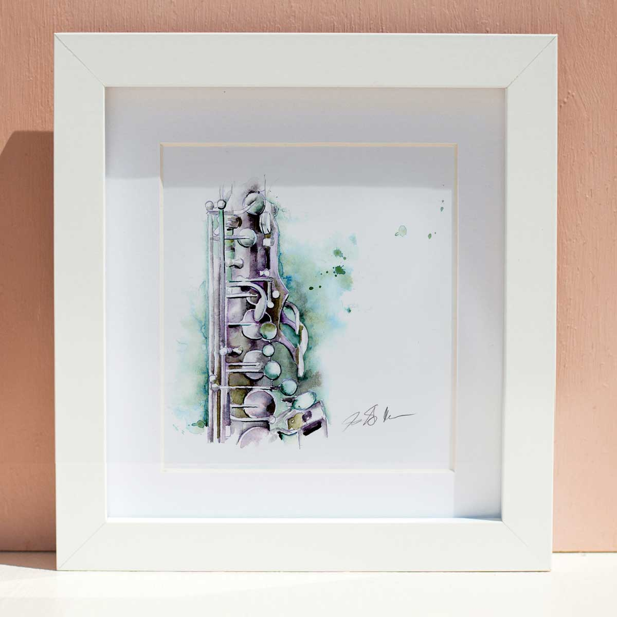 Rose Gold Saxophone Original Framed Watercolor - Sax art by Jamie Hansen