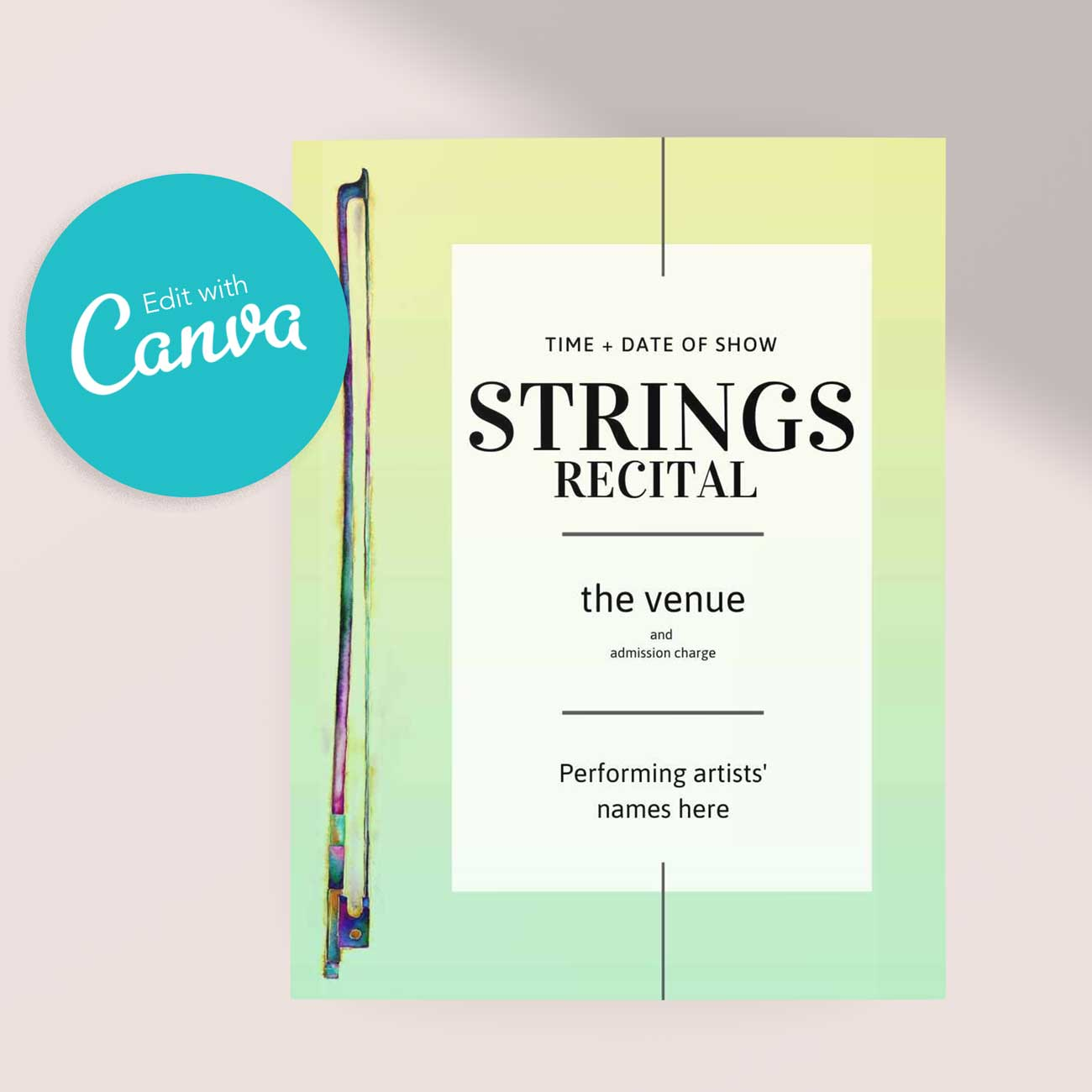Strings Violin Bow Recital or Concert Poster | Editable Canva Template