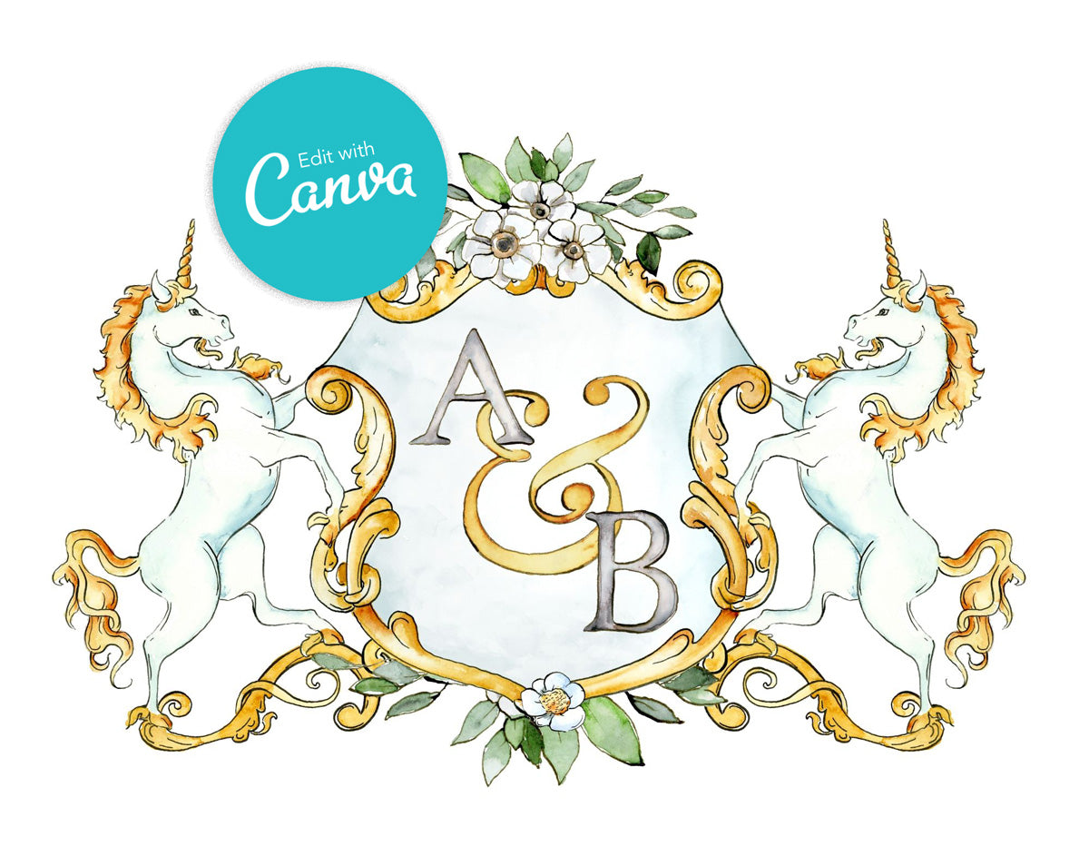 Monogram Crest with Unicorns | Canva Template Digital Download - Jamie Hansen Art
