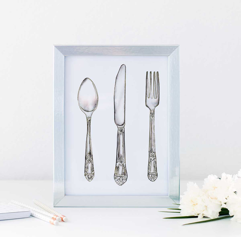 Vintage Silver Watercolor Illustration Set - Hand Drawn Illustrations by Jamie Hansen - Jamie Hansen Art