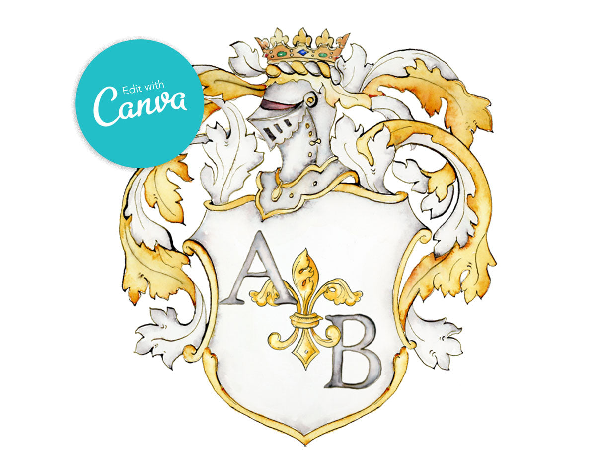 Victoria Monogram Crest | Editable Canva Template - Jamie Hansen Art
