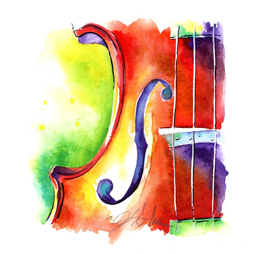 Strawberry Violin - Orchestra Strings Watercolor Painting - Jamie Hansen Art