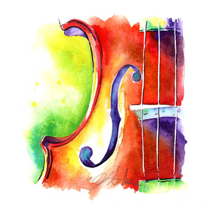 "Viola Bridge 6"" x 6"" strings watercolor art - Jamie Hansen Art"