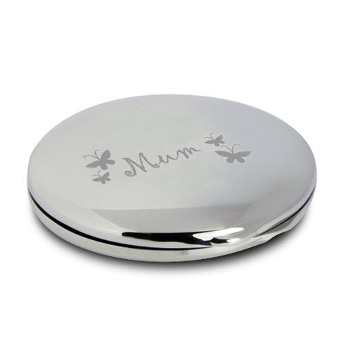 Silver Finish Engraved Mum Round Butterfly Compact Mirror Great Gifts Idea for Mummy Birthday Christmas Presents Mothers Day Gift by Pmc - Personalised Compact Mirrors