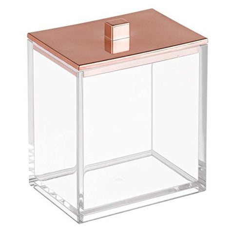 InterDesign Clarity Canister for Cotton Balls, Clear/Rose Gold