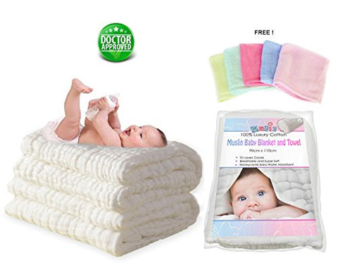 Luxury White 10 Layer Muslin Cotton Dual Warm Baby Blanket and Bath Towel - BETTIKE.com
