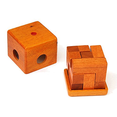 Wooden Magic Puzzle Brain Teaser Cube box Toy for Children and Adult