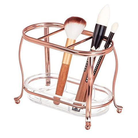 mDesign Traditional Cosmetics and Makeup Brush Holder for Bathroom Vanity Countertops - Rose Gold/Clear