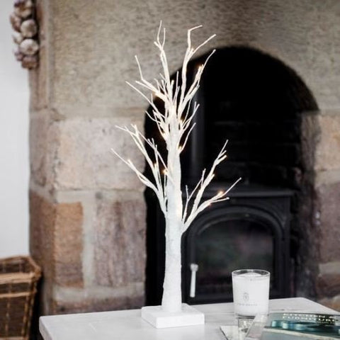 Table Top Christmas/Easter Tree Led Lit Battery Operated Table Decoration Light White With Glitter. (60cm 24 LED)