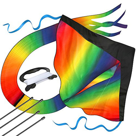 Huge Rainbow Kite For Kids - One Of The Best Selling Toys For Outdoor Games Activities - Good Plan For Memorable Summer Fun - This Magic Kit Comes With Lifetime Warranty & Money Back Guarantee - BETTIKE.com