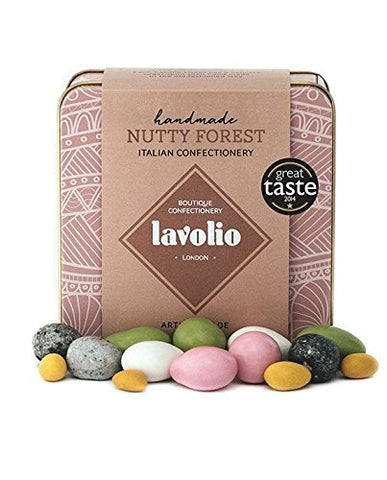 Lavolio Nutty Forest Confectionery - Gift Tin - 175g - Delicious surprises! A medley of nuts and chocolate, Perfect Present for Him or Her.