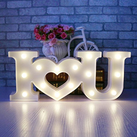 LED Marquee Night Light - I LOVE U Mood Lights Bedside and Table Lamps Mother's Day Gift,