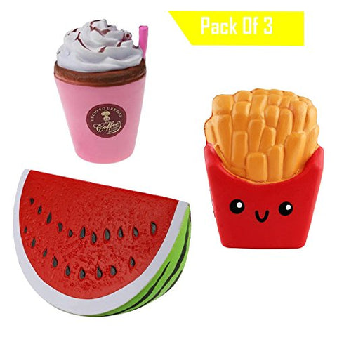 (3 Pack) Squishies Slow Rising Fries UK Jumbo Scented Coffee Squishy Squeeze Watermelon Stress Toy Reliever Gift (3pc ) - BETTIKE.com