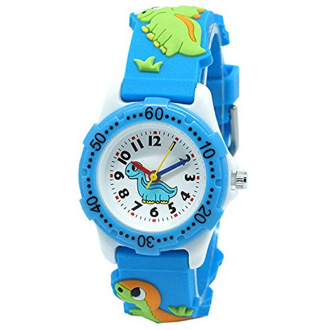Fashionable-Shop School Toddlers Kids Time Teach 3D Cartoon (Dinosaur Blue)