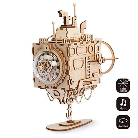 ROBOTIME Submarine Music Box - Adults Model Kits -Laser Cut Wooden Puzzle 3D