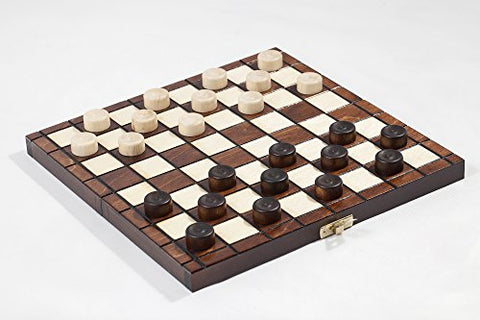 "10"" Traditional Hand Crafted Wooden Draughts Checkers Set - BETTIKE.com"