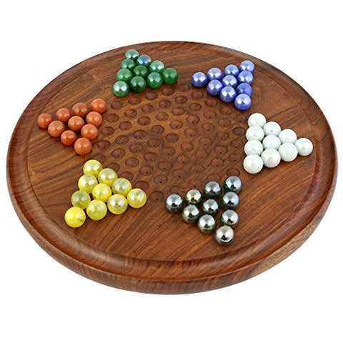 Game Chinese Checkers With Marbles Handcrafted Wooden Toys
