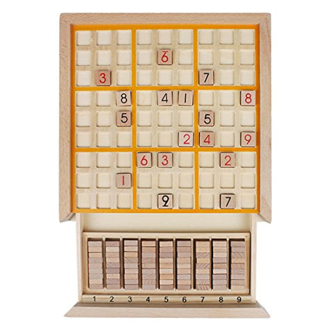 Andux Zone Sudoku Puzzle Board Game with Drawer Wooden Number SD-02 (Yellow) - BETTIKE.com