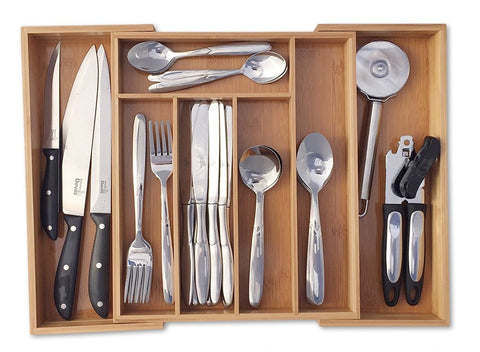Expandable 5-7 Compartments Bamboo Wooden Kitchen Cutlery Drawer Utensil Organizer Divider Tray