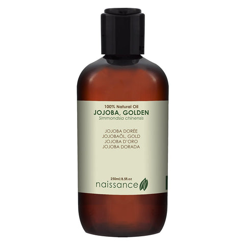 Naissance Cold Pressed Golden Jojoba Oil 250ml - Pure & Natural, Unrefined, Vegan, Hexane Free, No GMO - Ideal for Aromatherapy and as a Massage Base Oil - Moisturises & Conditions Hair & Skin