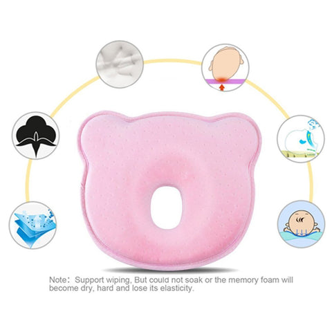 Baby Pillow, Finlon Baby Head Shaping Pillow Memory Foam Pillow Flat Head Syndrome Prevention Baby Pillow for Plagiocephaly (Pink) - BETTIKE.com