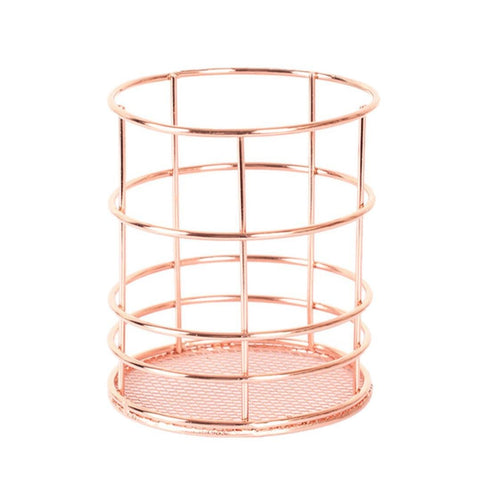Ularma Hollow Rose Pattern Makeup Brush Vase Pot Pen Holder Stationery Storage Organizer Container (Rose Gold- Round)