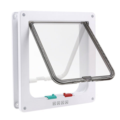 iado Cat Flap, Pet Flap Self Lining to 50mm Thick Dog Door for Sliding Door, Secures Your Pet with 4 Way Locking Cat Door -White (M)
