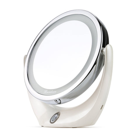 BROADCARE Makeup Mirror LED Lighted 1X/ 5X Double Sided Magnification USB Rechargeable Portable Cosmetic Vanity Mirror with Lights for Travel, Bathroom - BETTIKE.com