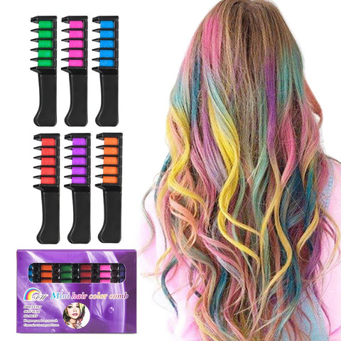 BATTOP 6PCS Hair Chalk Comb Temporary Bright Hair Color Cream for Girls Kids Gifts - BETTIKE.com