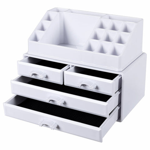 Songmics White Makeup Organiser Acrylic Jewellery Storage Box Cosmetic with 4 drawers Display Boxes 2 Pieces Set