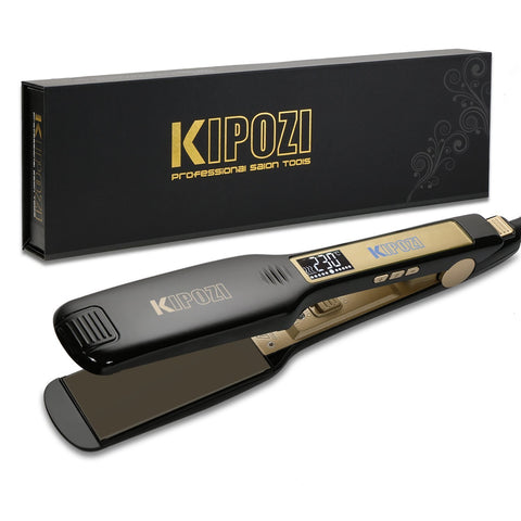 KIPOZI Professional Hair Straighteners Wide Plates with Digital LCD Display Dual Voltage Salon Fast Hair Styler,Black