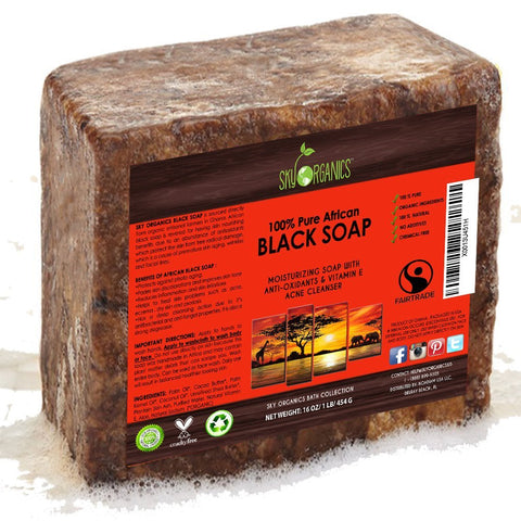 Organic African Black Soap (454g block) - Raw Organic Soap Ideal for Acne, Eczema, Dry Skin, Psoriasis, Scar Removal, Face & Body Wash, Authentic Black Soap From Ghana with Cocoa , Shea Butter & Aloe