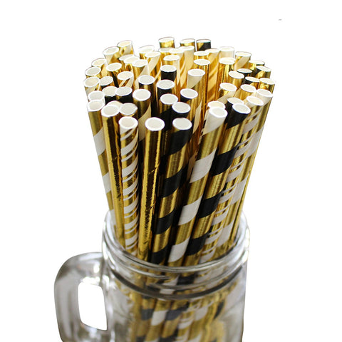 100 Piece Paper Party Drinking Decorative Straws by Belle Vous - Black, White and Gold Designs for Wedding, Baby Shower, BBQ,Birthday and Engagement Parties - BETTIKE.com