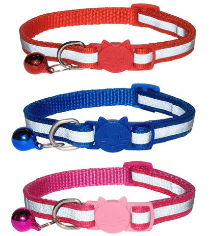Reflective Cat Collars with Bell, Quick Release Safety Buckle, Suitable for All Domestic Cats, Reflective Design Pet Collars, Pack Of 1 0r 3