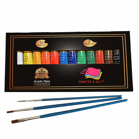 Acrylic paint 12 Set by Crafts 4 All For Paper,canvas,wood,ceramic,fabric & crafts.Non toxic & Vibrant colors.Rich Pigments With Lasting Quality - For Beginners, Students & Professionals artist - BETTIKE.com