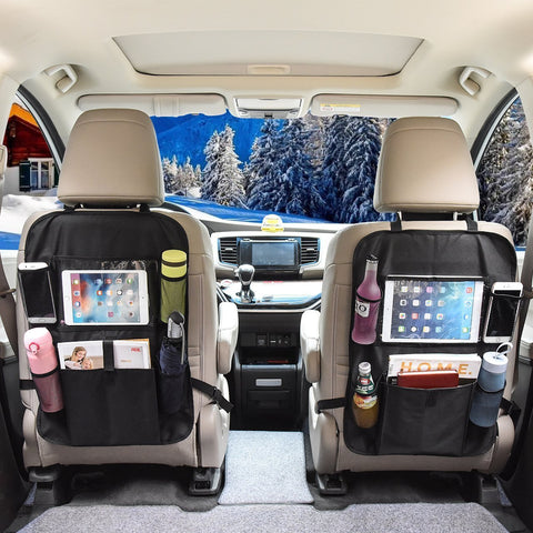 OMORC [ 2 Pcs ] Car Backseat Organizer with iPad Tablet Touch Screen Holder, Multi-Pocket for Bottles, Tissue Boxes, Kids Toy Storage and Great Travel Accessory for Kids, Kick Mat Seat Back Protector