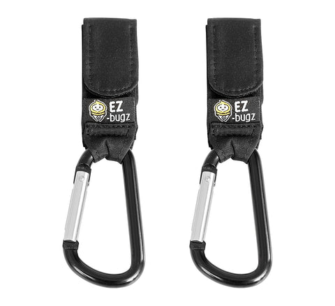 EZ-Bugz Buggy Clips. Hook your shopping & bags safely on your Pushchair or Stroller. Clip your handbag or baby change bag to your Pram. Universal fit, Black, 2 pack
