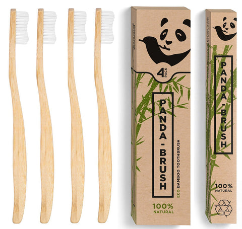 Bamboo Toothbrush 'The Panda Brush' - Eco Friendly Patented Ergonomic Wooden Handle - BPA Free & 100% Plastic-Free (4 pack Adult Size) - BETTIKE.com