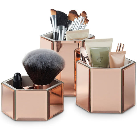 Beautify Rose Gold Mirrored Glass Hexagon Storage Pots for Makeup, Brushes, Jewellery & Accessories - Set of 3 includes Glass Cleaning Cloth - BETTIKE.com