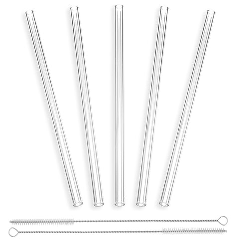 StrawGrace Handmade Glass Straws Clear Straight 9 in x 10 mm - 5 Pack With 2 Cleaning Brushes