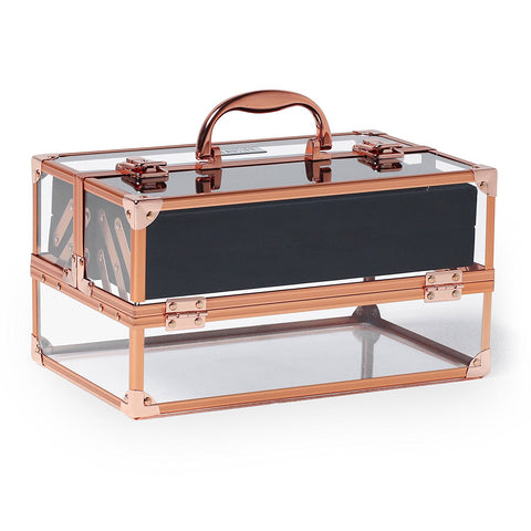 Beautify Beauty Case Marble Effect with Chrome Frame Acrylic Large Make Up Storage Cosmetics Box Vanity Nail Varnish - BETTIKE.com