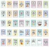 Baby Milestone Cards & Keepsake Box – Perfect baby shower gift set with original pastel coloured designs by COZY HEDGEHOG - BETTIKE.com