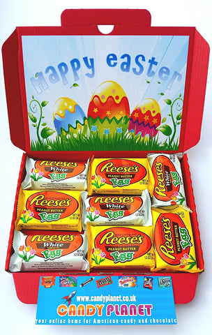 American Reese's Peanut Butter Easter Eggs Gift Box (8 x items) | 4 x Super Rare White Chocolate Eggs & 4 x Milk Chocolate | Letterbox | Retro Sweets | Happy Easter Present - BETTIKE.com