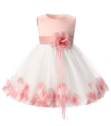 Newborn Baby Girl Birthday Dress Petals Tulle Toddler Girl Christening Dress - Princess Party Dress