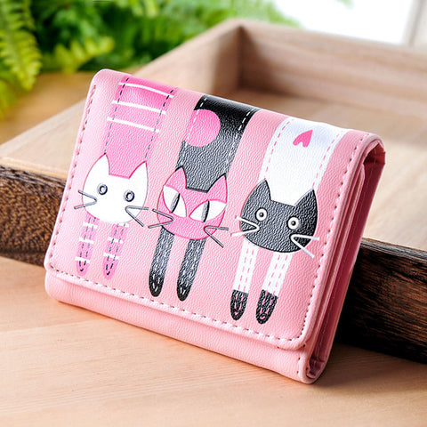 Lovely Cat Wallet Women Short PU Soft Leather Wallet Female cat Candy Color